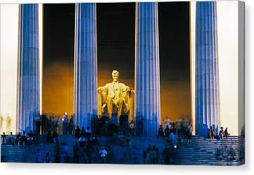 Tourists At Lincoln Memorial Canvas Print by Panoramic Images
