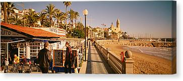 Tourists In A Cafe, Tapas Cafe, Sitges Canvas Print by Panoramic Images