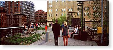 Tourists In A Park, High Line Park Canvas Print by Panoramic Images