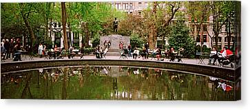 Tourists In A Park, Madison Square Canvas Print by Panoramic Images