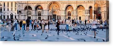 Tourists In Front Of A Cathedral, St Canvas Print