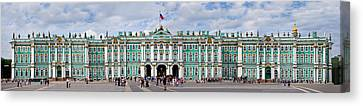 Hermitage Canvas Print - Tourists In Front Of Winter Palace by Panoramic Images