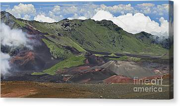 Tourists In The Haleakala Crater Canvas Print by Frank Wicker