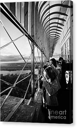 Manhatten Canvas Print - Tourists  Look At The View And Take Photos From Observation Deck Empire State Building by Joe Fox