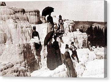 Tourists On Mammoth Terraces Canvas Print by NPS Photo