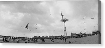Tourists On The Beach, Coney Island Canvas Print by Panoramic Images