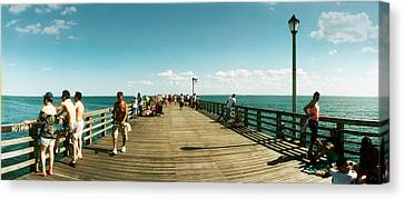 Tourists On The Coney Island Pier Canvas Print