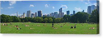 Tourists Resting In A Park, Sheep Canvas Print by Panoramic Images
