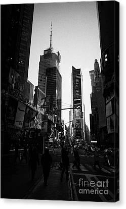 Tourists Walk Across Cross Walk Times Square In Daytime New York City Canvas Print by Joe Fox