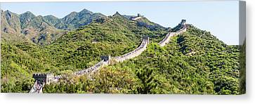 Tourists Walking On A Wall, Great Wall Canvas Print by Panoramic Images