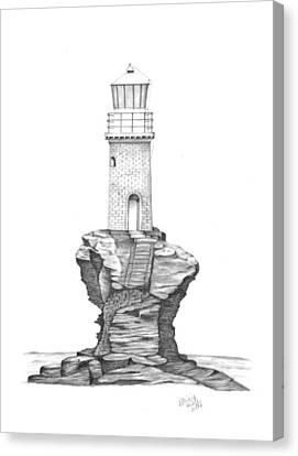 Tourlitis Lighthouse-greece Canvas Print