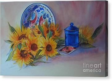 Canvas Print featuring the painting Tournesols by Beatrice Cloake