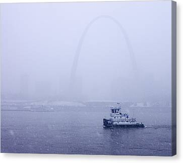 Towboat Working In The Snow St Louis Canvas Print by Garry McMichael