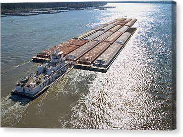 Towboats And Barges On The Mississippi Canvas Print by Garry McMichael