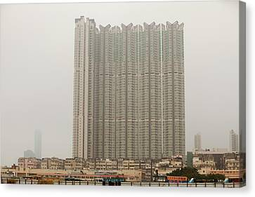 Tower Block Accommodation Kowloon Canvas Print by Ashley Cooper