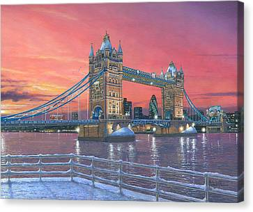 Tower Bridge After The Snow Canvas Print by Richard Harpum