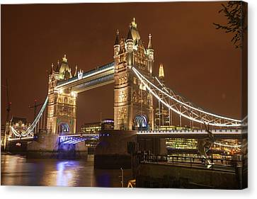 Tower Bridge At Night Canvas Print by Ashley Cooper