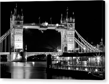 Canvas Print featuring the photograph Tower Bridge At Night by Maj Seda