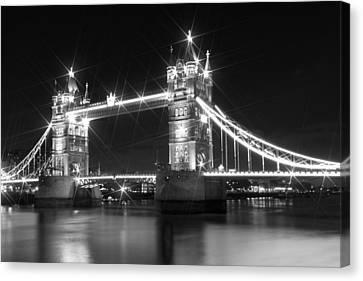 Tower Bridge By Night - Black And White Canvas Print by Melanie Viola