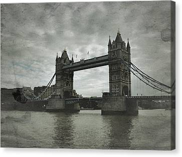 Tower Bridge In London Over The Thames Canvas Print by John Colley