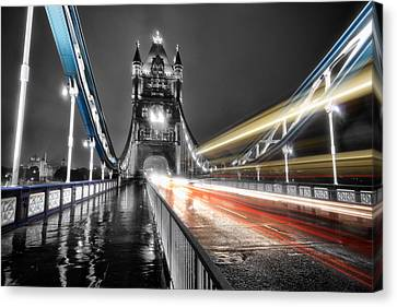 Tower Bridge Lights Canvas Print by Ian Hufton