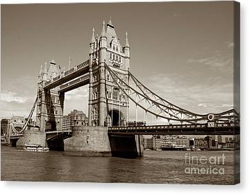 Tower Bridge - Sepia Canvas Print by Heidi Hermes