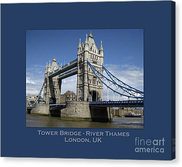 Will And Kate Canvas Print - Tower Bridge With Text by Heidi Hermes