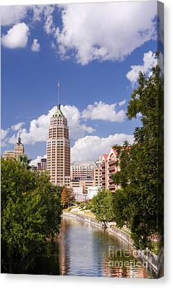 Tower Life Building San Antonio Skyline And Riverwalk - Texas Canvas Print by Silvio Ligutti