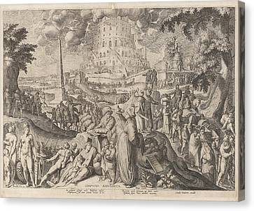 Tower Of Babel, Zacharias Dolendo, Jacob De Gheyn II Canvas Print by Zacharias Dolendo And Jacob De Gheyn (ii) And Cornelis Danckerts (i)