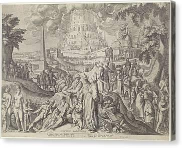 Tower Of Babel, Zacharias Dolendo, Jacob De Gheyn II Canvas Print by Zacharias Dolendo And Jacob De Gheyn (ii) And Willem Jans