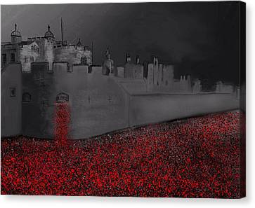 Rememberance Canvas Print - Tower Of London Blood Swept The Lands by Karen Harding