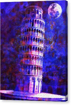 Tower Of Pisa By Moonlight Canvas Print by Jack Zulli