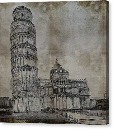 Tower Of Pisa Italy Sketch Canvas Print