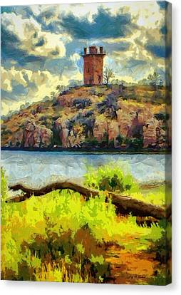 Tower On The Bluff Canvas Print by Jeffrey Kolker