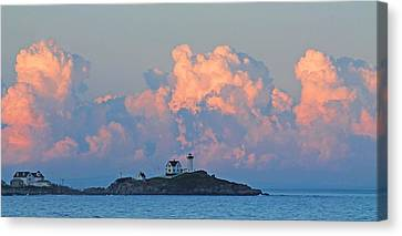 Towering Clouds Over Nubble Lighthouse York Maine Canvas Print