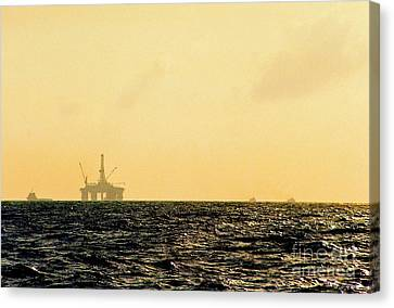 Towing A Platform In The Gulf Of Mexico Off The Coast Of Louisiana Canvas Print by Michael Hoard