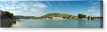 Town At The Waterfront, Vineyards Canvas Print by Panoramic Images