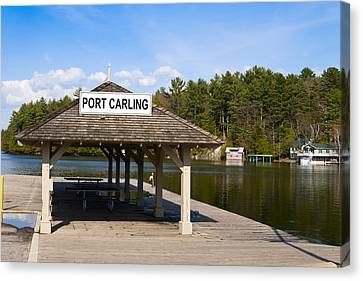 Town Dock And Cottages At Port Carling Canvas Print