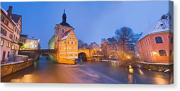 Town Hall In A City At Night, Bamberg Canvas Print by Panoramic Images