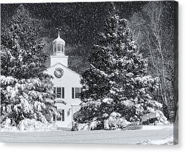 Town Hall Of Wellfleet In Winter Canvas Print by Dapixara
