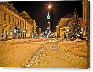 Town In Deep Snow On Christmas  Canvas Print by Brch Photography