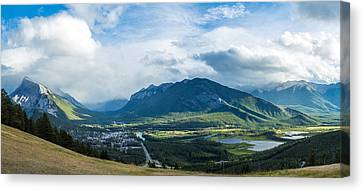 Town Of Banff In The Bow Valley Canvas Print by Panoramic Images