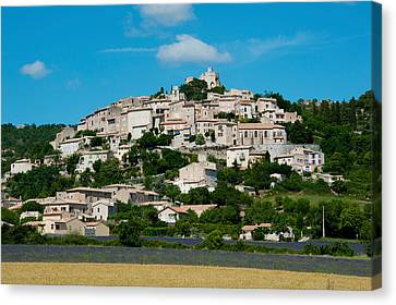 Town On A Hill, D51, Sault, Vaucluse Canvas Print by Panoramic Images