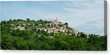 Town On A Hill, Lacoste, Vaucluse Canvas Print by Panoramic Images
