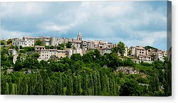 Town On A Hill, Sault, Vaucluse Canvas Print by Panoramic Images