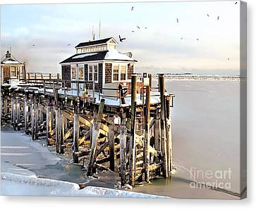 Town Pier Frozen Canvas Print by Janice Drew