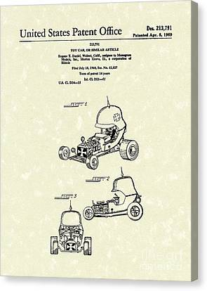 Toy Car 1969 Patent Art Canvas Print by Prior Art Design