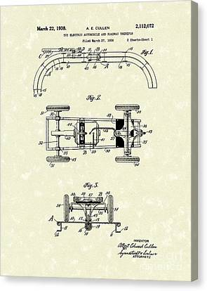 Toy Car And Track 1938 Patent Art Canvas Print by Prior Art Design