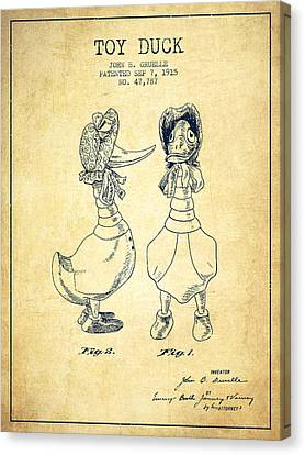 Toy Duck Patent From 1915 - Female - Vintage Canvas Print
