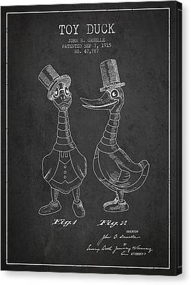 Doll Canvas Print - Toy Duck Patent From 1915 - Male - Charcoal by Aged Pixel